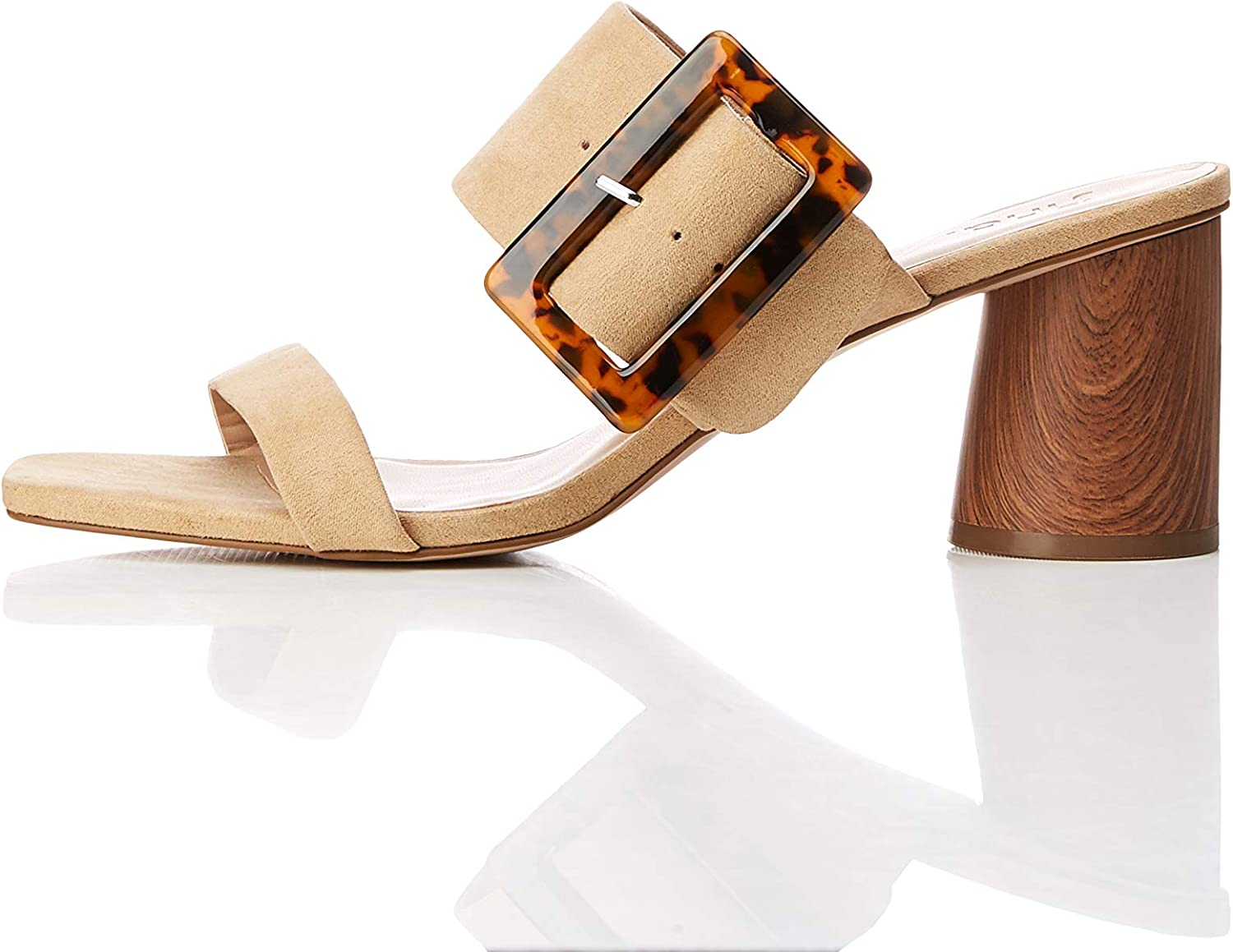 Find. Amazon Brand Women's Large Buckle Block Heel Sandal