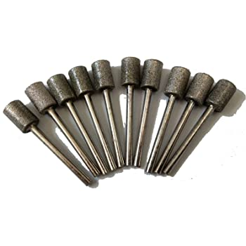 20pc 3mm Diamond Coated Rotary Burrs Tools 4mm Cylindrial Point Glass Drill Bits