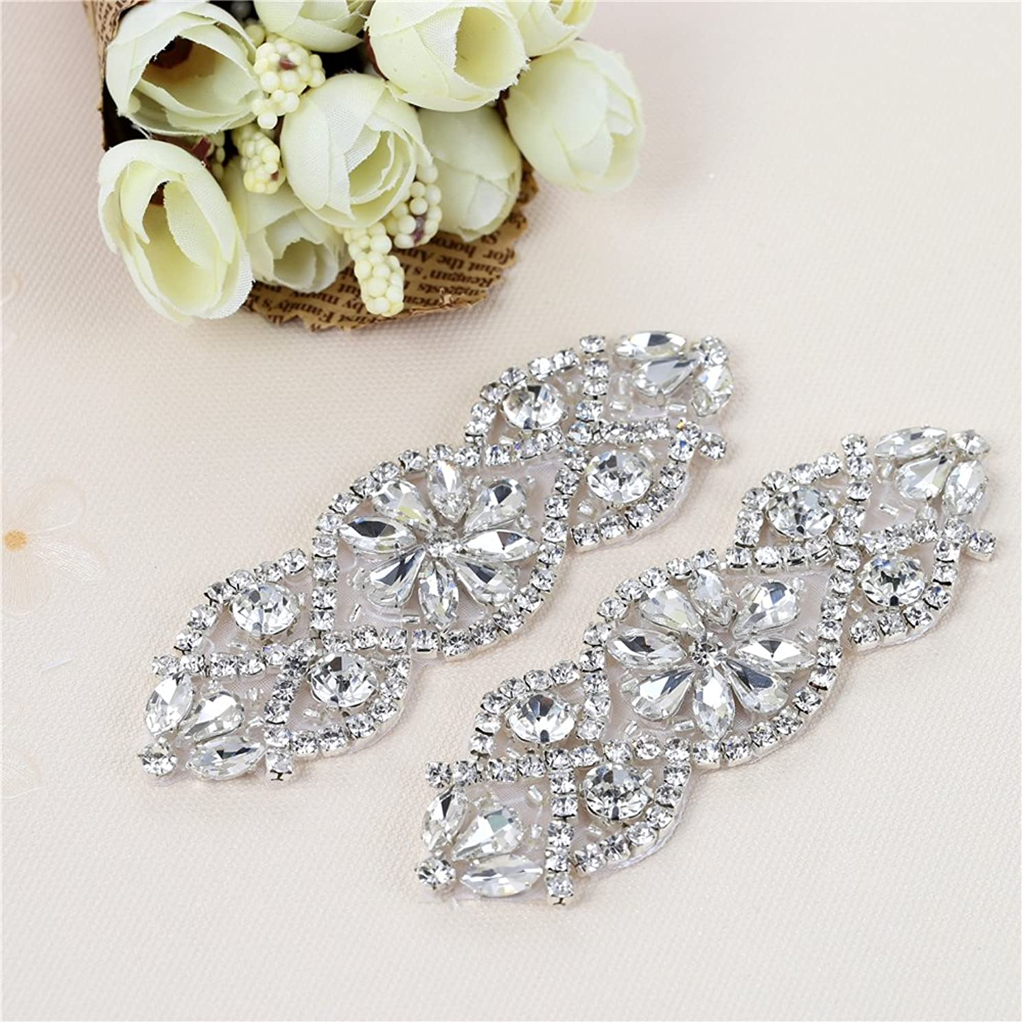 XINFANGXIU (2PCS) Bridal Wedding Dress Sash Belt Applique with Crystals Rhinestones Beaded Dacorations Handcrafted Sparkle Elegant Thin Sewn or Hot Fix for Women Gown Evening Prom Clothes - Silver