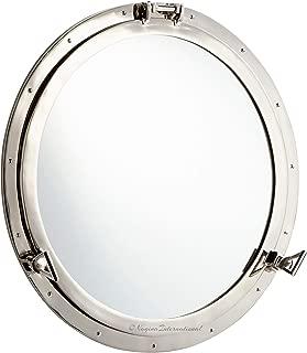 Nagina International Metal Crafted Nickel Plated Aluminum Porthole Bathroom Decor Mirror (30 Inches)