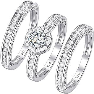 Wuziwen جولة هالة خواتم الزفاف للنساء خاتم الخطوبة 925 فضة الاسترليني حجم 5-12