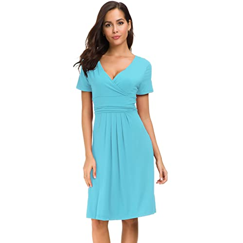 052279032088 Afibi Short Sleeve Ruched Empire Waist V-Neck Fit and Flare Cocktail Dress