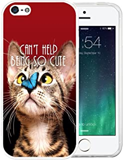 iPhone SE Case, LAACO Beautiful Clear TPU Case Rubber Silicone Skin Cover for iPhone 5/5S/SE - Funny Animals - Cat and butterfly