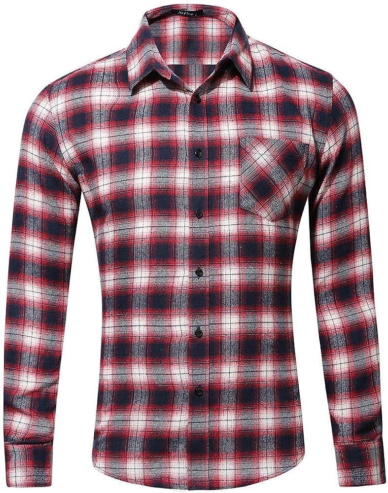 Men's Plaid Slim Fit Long Sleeve Casual Button Down Pocket Dress Shirts