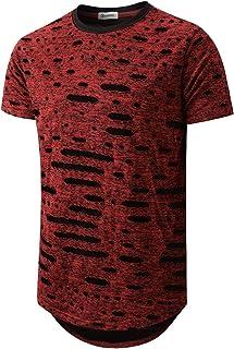 Mens Hipster Hip Hop Ripped Round Hemline Hole T Shirt (05-3)