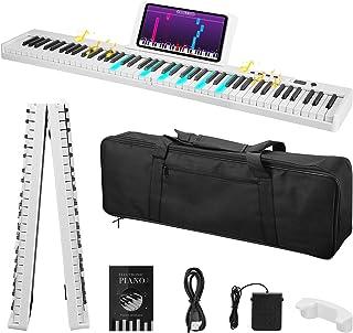 88 Piano plegable de teclas, SPUIOOY, piano digital de tamaño completo, piano eléctrico con MIDI, altavoces, pedal de sost...