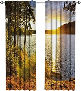shenglv Landscape, Curtains Set of 2, Sunset Dawn in The Forest Over Lake of Two Rivers Algonquin Park Ontario Canada, Curtains Living Room, W108 x L96 Inch, Multicolor