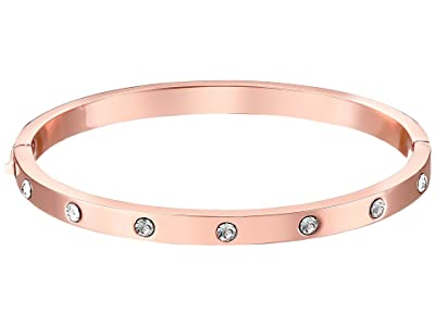 Kate Spade New York Set in Stone Hinged Bangle (Clear/Rose Gold) Bracelet