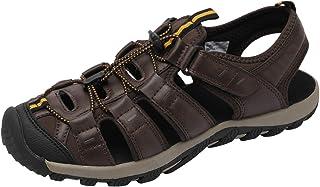 صندل رجالي منزلق من Ataiwee - حذاء صيفي جلدي خفيف الوزن مريح للاستخدام الداخلي والخارجي.