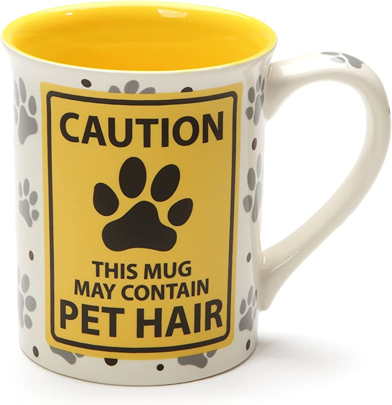 Enesco 6001232 Our Our Name Is Mud Caution Pet Hair Stoneware Mug 16 Oz Yellow