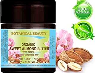 SWEET ALMOND OIL - BUTTER ORGANIC RAW. 100 % Natural / VIRGIN / UNREFINED. 16 Fl.oz.- 480 ml. For Skin, Hair and Nail Care.