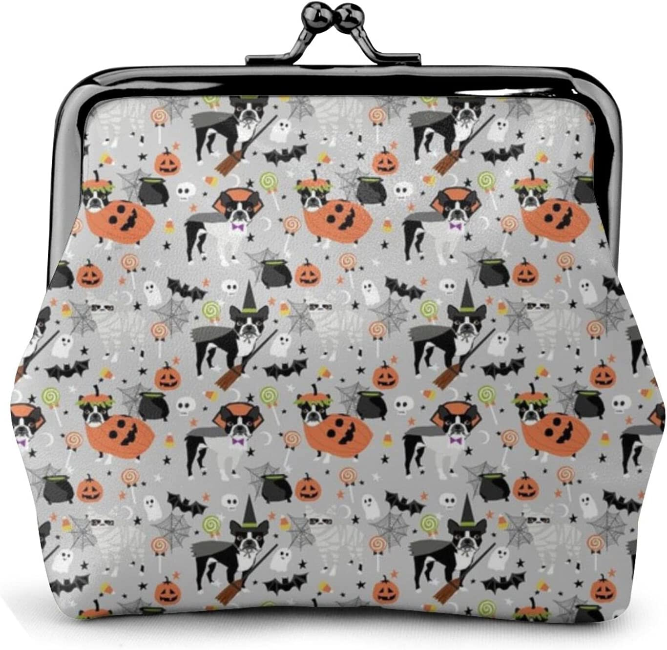 Boston Terrier Halloween 1002 Coin Purse Retro Money Pouch with Kiss-lock Buckle Small Wallet for Women and Girls