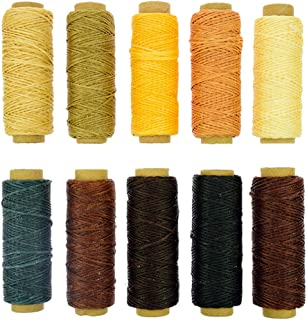 BIGTEDDY - 10 Colors 150D 1mm Hand Stitching Waxed Leather Thread Dreamcatcher DIY Supplies for Leathercraft Project Sewing Repair 50+ Yards Each Color