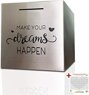 """Piggy Bank Made of Stainless Steel, Piggy Banks for Adults Coin Bank ,Can Only Save The Piggy Bank That Cannot be Taken Out (7.8""""X7.8""""X7.8"""")"""