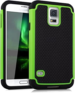 kwmobile Full Armor Case for Samsung Galaxy S5 / S5 Neo - Heavy Duty Shockproof Protective Hybrid Case Cover - Green/Black