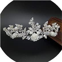 Baroque Handmade Gold Flower Leaf Tiara Crowns Wedding Vine Jewelry Bridal Vintage Hair Accessories,Silver
