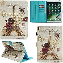 Ooboom Funda Tipo Cartera 3D Flip Smart Cover PU Cuero Soporte Tarjeta Ranuras con Correa Muñeca Cierre Magnético para Tablet Paris Eiffel Tower iPad 9.7