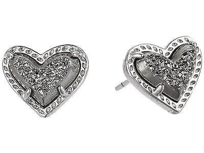 Kendra Scott Ari Heart Stud Earrings (Rhodium Platinum Drusy) Earring