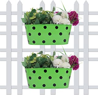 Wonderland (Set of 2) 12 inch Polka Dot Railing planters in Green for Home, Garden, Balcony Decor, Decoration, Garden pots and planters