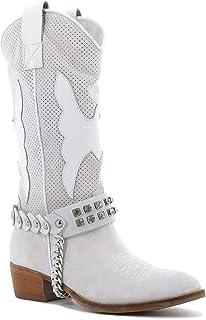 Velaide Stivali camperos in camoscio con Cerniera, Made in Italy - Colore Bianco