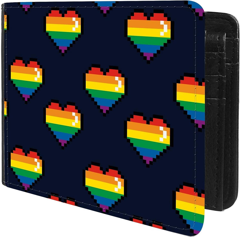 Unique Desige Pattern - LGBT Gay Pride Rainbow Pixel Hearts, Slim Front Pocket Wallet Billfold RFID Blocking