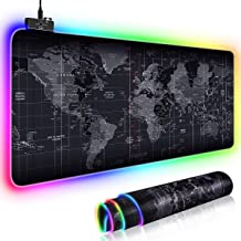 RGB Gaming Mouse Pad, JR INTL Cool RGB Gaming Mouse Mat with Nylon Thread Stitched Edges & Smoothly Waterproof Non-Slip Ru...