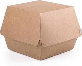 Paquete de 50 cajas de hamburguesas Kraft tamaño XL, contenedor de comida rápida para llevar, caja desechable a prueba de ...