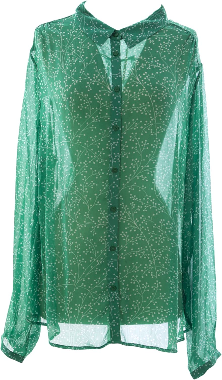 BODEN Women's Printed Sheer Vintage Blouse US Sz 18 Green