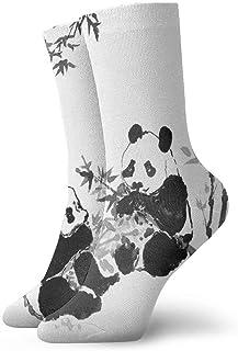 tyui7, Calcetines de compresión antideslizantes Panda & Bamboo Cosy Athletic 30cm Crew Calcetines para hombres, mujeres, niños