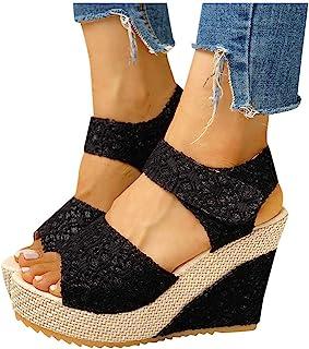 Aniywn Women Espadrilles Platform Wedges Heel Lace Up Sandals Elegant Floral Classic Ankle Strap Shoes