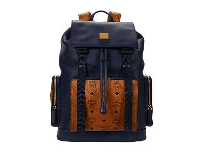 MCM Brandenburg Visetos Leather Mix Backpack Medium (Dark Sapphire) Backpack Bags