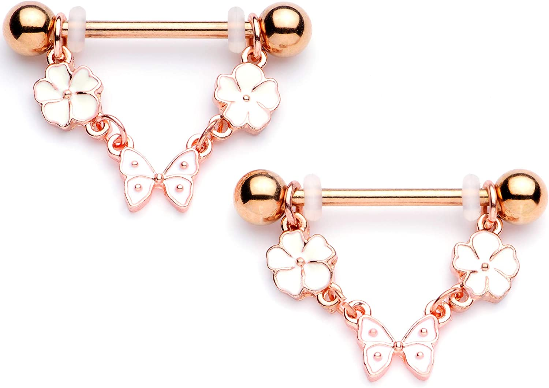 Body Candy 14G Womens Nipplerings Piercing PVD Steel 2Pc White Flower Butterfly Dangle Nipple Ring Set 9/16