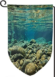 hwhwiko Garden Flag,Underwater View with Rocks and Pebbles Torrent Clear Fresh Water of Dumbea River,12.5x18.5 inch