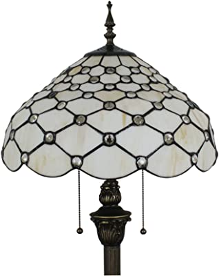 Gweat Tiffany 16-Pouce Retro Européenne Stained Glass Perle Blanche Series Lampadaire