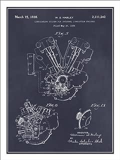 Studio 21 Graphix 1936 Harley Davidson Knucklehead Engine Motorcycle Patent Print Art Poster UNFRAMED Blackboard 18