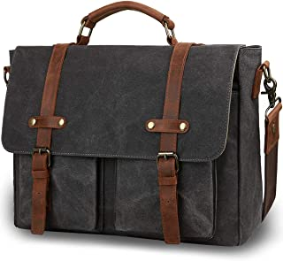 f46a932f5a2 Tocode Vintage Messenger Bag for Men 15.6 inch, Water Resistant Waxed  Canvas Genuine Leather Satchel
