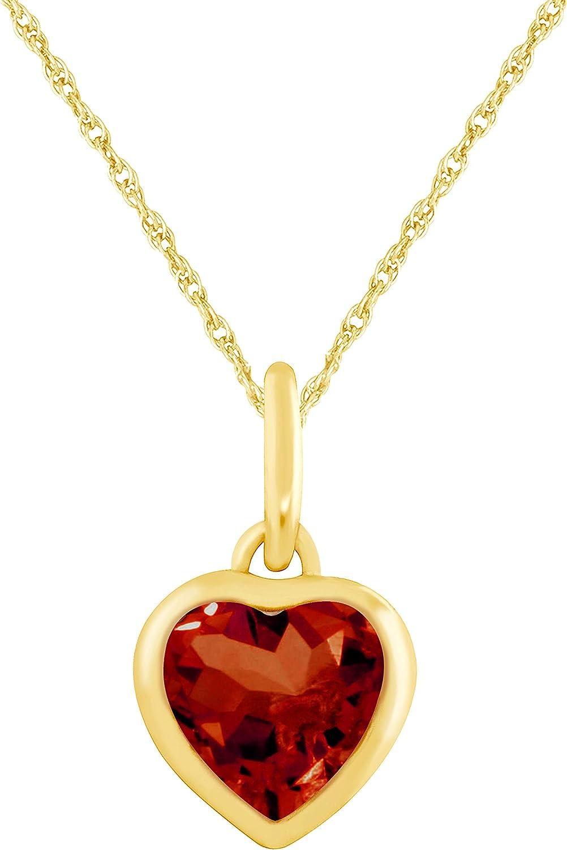 JewelExclusive 10 Karat Yellow Gold Genuine Garnet Heart Pendant on a 18 inch gold filled chain