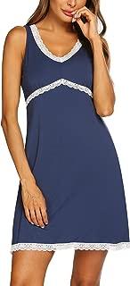 Sleepwear Womens Nightgown Sexy Sleep Shirt Dress V Neck Short Sleeve Lace Trim Soft Nightshirt (S-XXL)