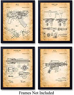 Famous Automatic Weapons Wall Art Patent Prints - Unframed Set of Four - Great Gift for Gun and Firearm Enthusiasts - Man Cave Home Decor - Ready to Frame (8x10) Vintage Photos