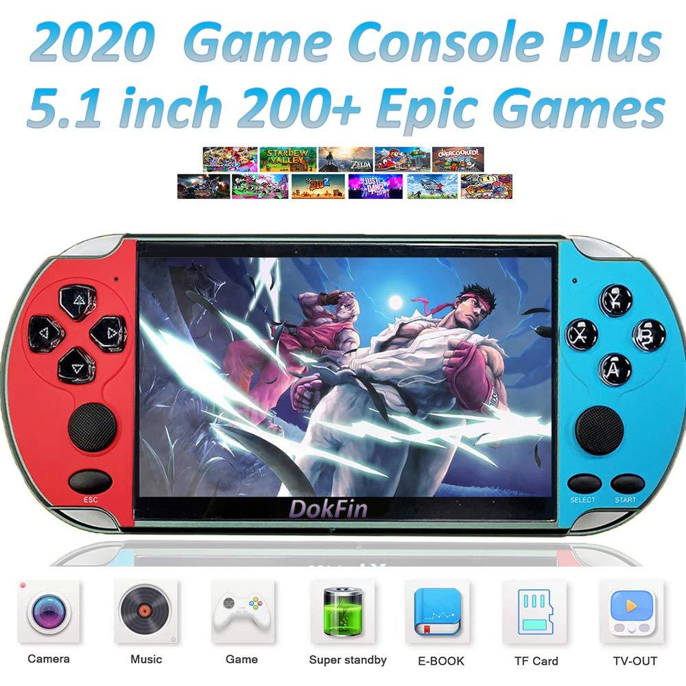 DokFin Consola de Juegos Portátil de Mano, Consolas de Videojuegos Retro con Pantalla LCD de 4.3/5.1 Pulgadas, 200+ Juegos Épicos, Salida de TV, 11 Simuladores Arcade, Regalo para Niños y Adultos: Amazon.es: