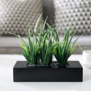 MyGift Artificial Green Grass Plants in Black Wood Rectangular Planter Pot