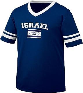 Flag of Israel Men's Retro Soccer Ringer T-shirt, Amdesco