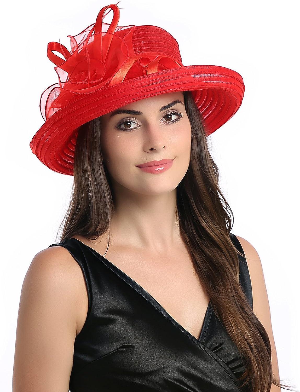 Dantiya Lady's Organza Wide Brim Bowler Hat Kentucky Derby Church Dress Sun Hat
