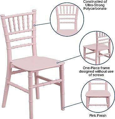 EMMA + OLIVER Kids Pink Resin Chiavari Chair