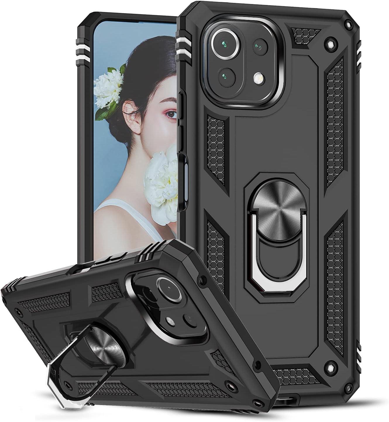 LeYi Funda para Xiaomi Mi 11 Lite/Mi 11 Lite 5G, Armor Carcasa con 360 Grados Anillo iman Soporte Hard PC Silicona TPU Bumper Antigolpes Case para Movil Xiaomi Mi 11 Lite, Negro