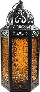 Vela Lanterns Moroccan Style Candle Lantern with LED Lights, Large, Amber Glass