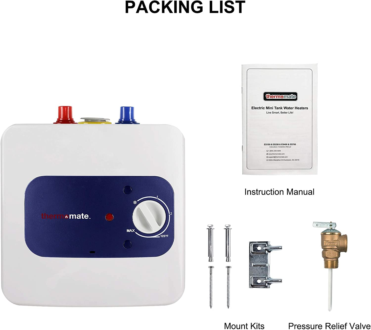 Thermomate Mini Tank Electric Water Heater ES250 2.5 Gallons Point of Use Water Heater for Instant Hot Water Under Kitchen Sink 120V 1440W