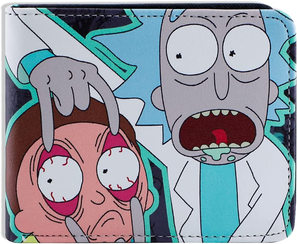 Men Boy Rick and Morty Leather Wallet Biofold Cartoon Purse Credit Card Holder (C)