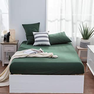 LIFETOWN Jersey Knit Cotton Fitted Sheet Queen, 1 Fitted Sheet and 2 Pillowcases, Extra Deep Pocket Fitted Bottom Sheet, Ultra Soft and Easy to Put (Queen, Dark Green)