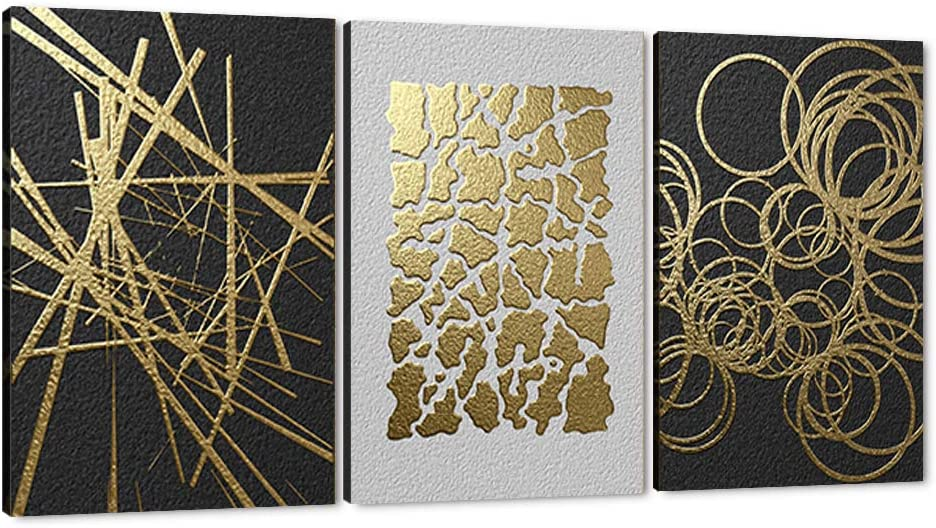 YONEYAN Abstract Picture 3 Panels Gold 55% OFF Blac Wall Foil Art online shopping Canvas